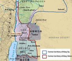 A map of the Transjordan & those tribes of Israel east of the Jordan River.