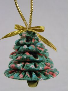 Christmas Tree Yo Yo ornaments set of 3 Teal by TheScrapBasket