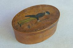 Antique FOLK ART Oval 19th C Sewing Box with Painting by KayWacker, $425.00