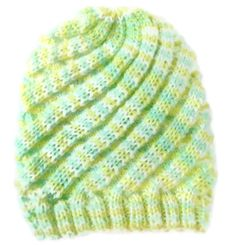 Newborn Baby Hat Knit Swirl Green Yellow by PreciousBowtique, $6.00