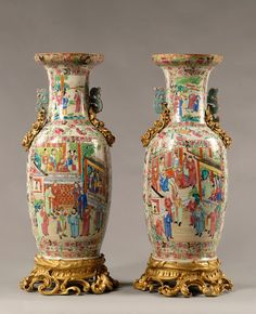 A Pair of Gilt-Bronze Mounted Famille Rose Porcelain Vases - Adrian Alan