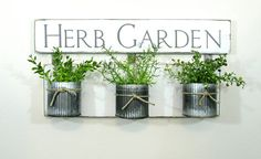 Herb Garden Wood Sign with Corrugated Metal Pots..Rustic