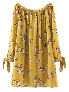 Floral Off Shoulder Shift Dress - YELLOW M Style: Casual Occasions: Causal Material: Cotton Blend Silhouette: Straight Dress Type: Tunic Dress Dresses Length: Mini Collar-line: Off The Shoulder Sleeves Length: Long Sleeves Pattern Type: F Kurta Designs, Trendy Fashion, Fashion Outfits, Womens Fashion, Floral Fashion, Fashion Sale, Paris Fashion, Fashion Fashion, Runway Fashion