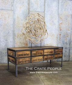 FREE SHIPPING - New Old Stock, 8 Crate Console -- Vintage Wood Crates and Barn Wood - Custom Crate Furniture by TheCratePeople on Etsy https://www.etsy.com/listing/410147909/free-shipping-new-old-stock-8-crate