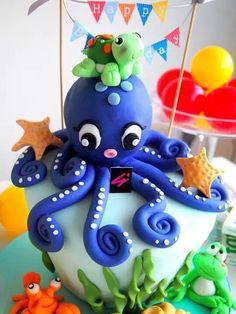 Sea world themed cake  #Cake #customcake #3d #octopus #frog #starfish #turtle #seashell #lobster #lovely #seaworld #dessert #patisserie #babyshower #kids #fun #event #party #birthday #colorful #happy