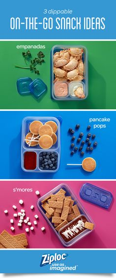 Get a little more hands-on with your food with these 3 delicious on-the-go dippable snack and sauce pairings for kids and parents. A clever mix of Ziploc® containers makes for the perfect dipping conditions with their tight and secure seals. Pancake pops are a great breakfast on the go. Empanadas with creamy cilantro sauce and roasted red pepper sauce are perfect to bring to a party. S'mores dip is a fun way to add some summer fun to a lunchbox or bento box.
