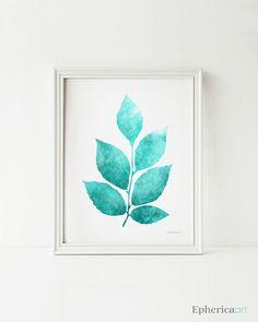 Printable wall art, Digital art print, Bedroom decor, Leaves art print, Bathroom wall art, Teal print, Teal wall art, Printable print for home decor EphericaArt.etsy.com