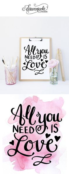 Hand-Lettered All You Need is Love Print by Dawn Nicole Designs I like the clipboard idea. sometime on my desk or kitchen counter :) Calligraphy Letters, Brush Lettering, Brush Pen, All You Need Is Love, Crafts To Do, Word Art, Dawn Nicole, Banners, Projects To Try