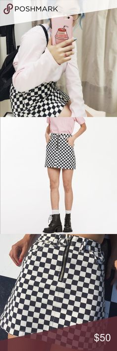 UNIF APEX SKIRT So sad to let this go but it's literally collecting dust in my closet only worn once!  Tags: checkered denim skirt ring black white topshop zara urban outfitters brandy UNIF Skirts