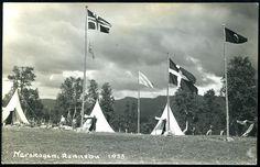 NORSK RIKSDUGNAD, ARBEIDSTJENESTE. Privat fotokort fra leir i Nerskogen, Rennebu i 1938.