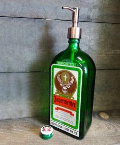 Bottle Rehab - Glassware from recycled bottles - Jagermeister Soap/Lotion Dispenser, $21.95 (http://www.bottlerehab.com/products/jagermeister-soap-lotion-dispenser.html)