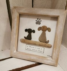 'A house is not a home without a dog pebble art Sea Glass Crafts, Sea Glass Art, Stone Crafts, Rock Crafts, Stone Pictures Pebble Art, Stone Art Painting, Pebble Art Family, Rock Painting Patterns, Driftwood Crafts