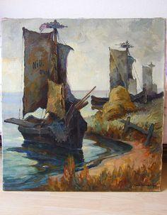 Carl Knauf Nidden Ölgemälde um 1930 Kurenkähne am Ufer