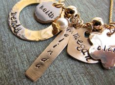 Personalized Hand Stamped Gold Grandmother's by madebydawnrenee, $115.00