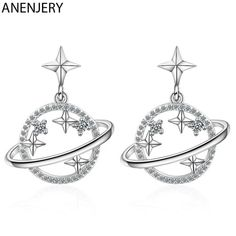 925 SS Saturn Planet Universe Earrings on Mercari Ear Jewelry, Cute Jewelry, Jewelry Art, Jewellery, Saturn Ring, Gemstone Earrings, Women's Earrings, Geometric Star, Diamond Earing