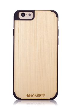 "iCASEIT Wood iPhone Case - Genuinely Natural, Unique & Premium quality for iPhone 6 (4.7"" Display) - Maple / Black"