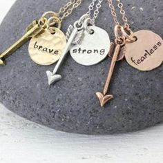 Be Fearless - Be Strong - Be Brave - Inspirational Friendship Necklace