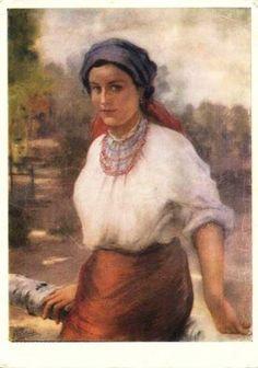 """"""" Molodytsya- Hutsulka"""", painting by Yaroslav Pstrak, Ukraine"""