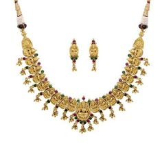 Pearlscart  Golden Lakshmi Themed Necklace Set #necklaceset #festivejewellery