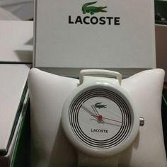 Authentic Lacoste White Stripe Unisex watch