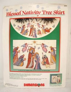 Blessed Nativity Tree Skirt, Dimensions Cross Stitch Kit 8379, Tablecloth Table Cover, Christmas Tree Skirt, Nativity Needpoint Kit by LuckyPennyTrading on Etsy