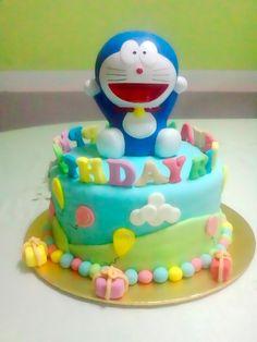 Just Desserts by Zar: Doraemon Birthday Cake! Cartoon Birthday Cake, Make Birthday Cake, Happy Birthday Cakes, Doraemon Cake, Birthday Cake Delivery, Cake Branding, Online Cake Delivery, Nutella Cake, Cake Name