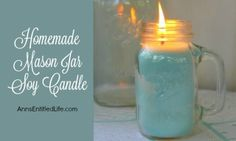 Easily and inexpensively make your own Homemade Mason Jar Soy Candle! This is great for gifts or to scent your own home anytime of the year. Easily customize these candles to any color you like. This Homemade Mason Jar Soy Candle is a fun DIY project that yields great results!