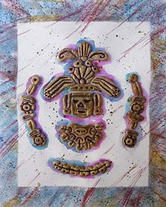Mayan Relief art project for children. Made with salt dough and gold shoe polish.