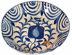 Grenadino Tin Glaze Earthenware Stoneware Basin 19th Cent Rare Blue White Pattern