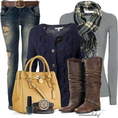 Cable knit cardigan, gray long sleeve, scarf, and jeans. Warm and stylish for the cold months