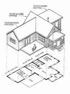 The Big Enchilada - our best small home plans kit Nice design; swap the kitchen and bathroom, knock out wall to eating area; extend porch to both sides with extended roof. Country House Plans, New House Plans, Small House Plans, Small Country Homes, Small Homes, Best Home Plans, Studio Floor Plans, Weekend House, 1 Gif