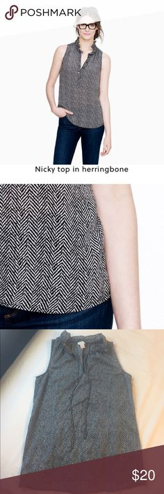 J Crew Herringbone Blouse J Crew Factory -- Size 00 -- Only Worn a Few Times -- Gray & White Herringbone -- Ruffle Neck Detail -- 100% Polyester -- Tag is coming off J. Crew Factory Tops Blouses
