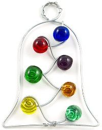 Beaded wire bell tree ornament.  This is a cute idea, and it doesn't have to be a bell.  The frame can be most anything and would make a great pendant.