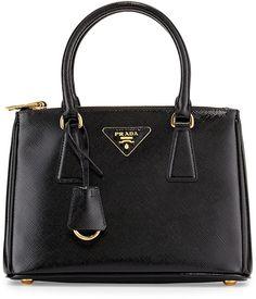 Prada Saffiano Vernice Mini Double-Zip Tote Bag, Black (Nero)
