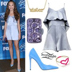 "Maddie Ziegler attended the series finale of American Idol last night wearing the Peggy Hartano Aurora Playsuit with Top Flare ($168.00) in Icy Blue, Benedetta Bruzziches Carmen with Hand Balloon Clutch (€565.00), Le Silla Pumps ($324.00), the Jennifer Meyer ""Sister"" Pendant Necklace ($675.00), and a Jordan Askill Pink Glitter Enamel Heart Ring ($255.00)."