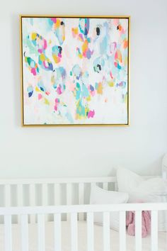 We're touring a beautiful white and gold nursery that is perfectly feminine for a baby girl. You are going to love the abstract painting above the crib. Nursery Design, Nursery Decor, Nursery Room, Nursery Paintings, Nursery Artwork, Gold Nursery, Bright Nursery, Easy Baby Blanket, Project Nursery