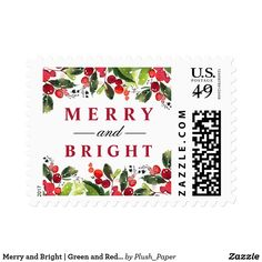 "Merry and Bright | Green and Red Watercolor Postage Christmas ""Merry and Bright"" holiday postage stamp features a beautiful Christmas watercolor border design with pine branches, green leaves, and red berries."