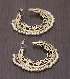 Gold and pearl hoops  ✵☽♚ ✧ for more follow on INSTA @love_ushi OR PINTEREST @ANAM SIDDIQUI ✧ ╳ ♡