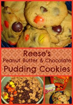 Reese's Peanut Butter Chocolate Pudding Cookies- Pinned over 121k times!~