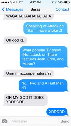 Texted this Attack on Titan joke to my friend.. XD