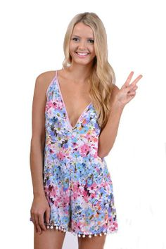 cfd258477572 Floral Print Playsuit  pompoms  romper