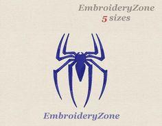 Spider logo of spiderman large. Machine embroidery design. Simvol Super hero comics spiderman. Five 5 big sizes Hoop 5x7 6x10