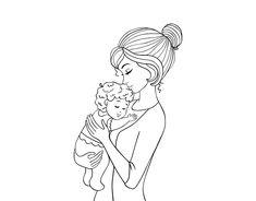Dibujo de En brazos de mam para Colorear  Dibujos del Da de la