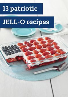 Avoid heating er ethe kitchen by combining JELL-O® Gelatin, cake and berries for this Wave Your Flag 'Cake.' Our Wave Your Flag 'Cake' is great for summer. 4th Of July Desserts, Holiday Desserts, Holiday Treats, Holiday Recipes, Patriotic Desserts, Patriotic Decorations, Holiday Foods, Summer Desserts, Summer Drinks