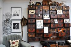 """A Collectors Home"" -- ""In the family room a bookcase is filled with vintage typewriters [https://www.pinterest.com/pin/175218241728836808/], and across the room is a Chinese apothecary chest originally from Napa, Chinatown which displays a kaleidoscope of butterflies carefully preserved under glass."""