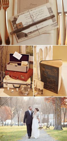 Stack of vintage suitcases for card holder.