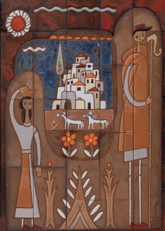 .:. Βαλσαμάκης Πάνος – Panos Valsamakis [1900-1986] Ποιμενικό Greek Paintings, Contemporary Decorative Art, 10 Picture, Greek Art, Naive Art, Conceptual Art, Flower Art, Printmaking, Folk Art