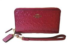 Coach Double Zip Phone Wallet Debossed Patent Leather Wristlet