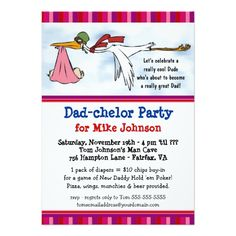 Dadchelor Party - Cute Daddy Shower Invitations