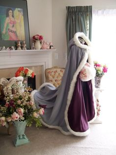 Grape Purple / Platinum Satin Bridal Cape 56 inch Wedding Cloak with Fur Trim Handmade in USA